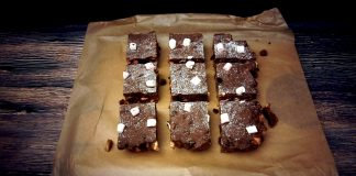 A baking tray of ready to eat Rocky Road that has been cut into 9 very large slices and are ready to indulge in